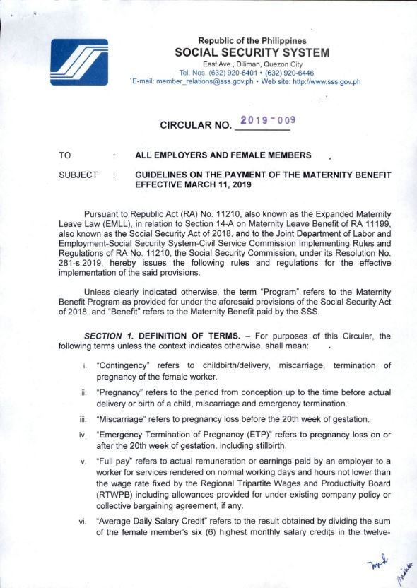 expanded maternity leave sss circular 2019-009
